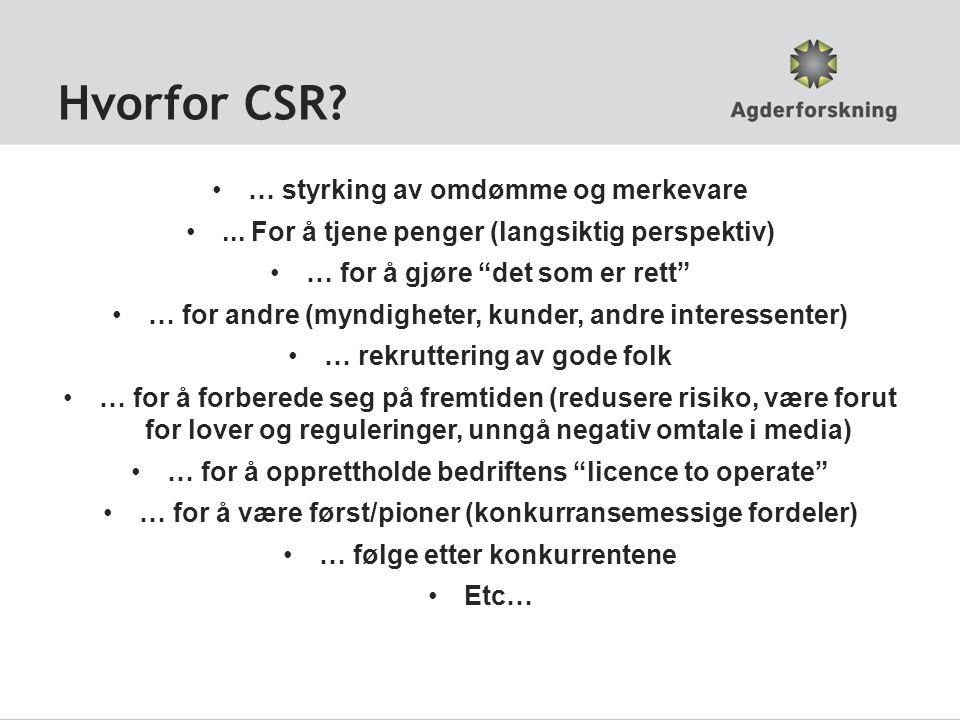 Hvorfor CSR … styrking av omdømme og merkevare