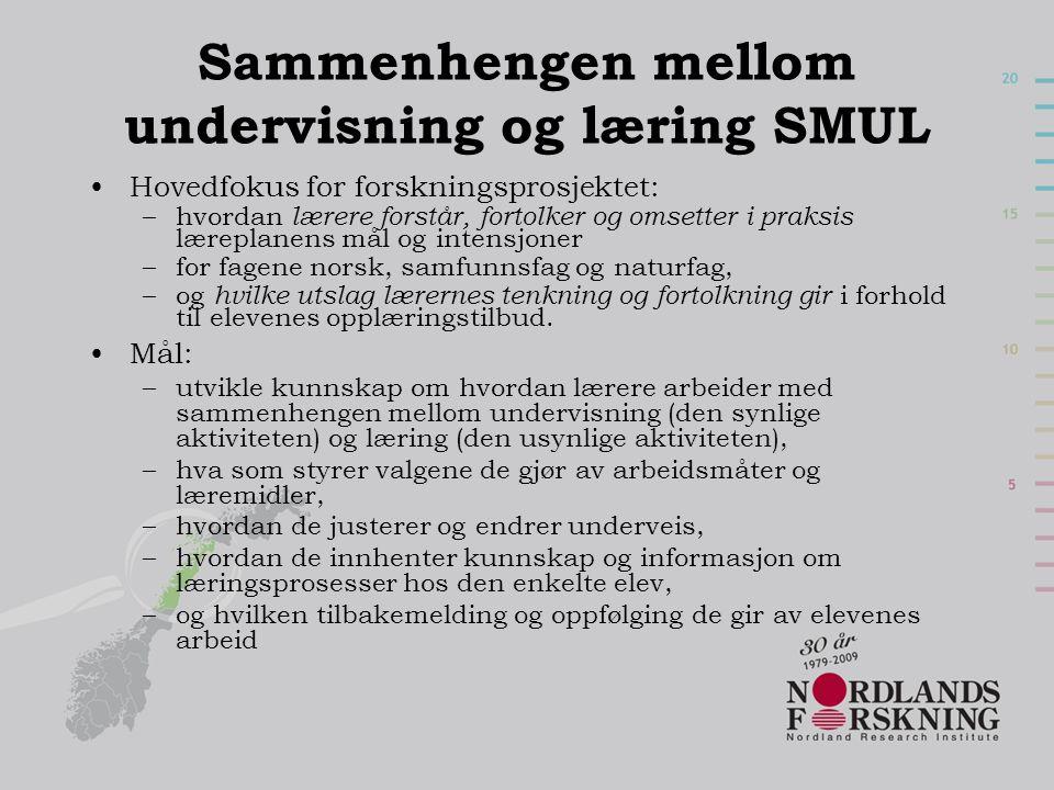 Sammenhengen mellom undervisning og læring SMUL