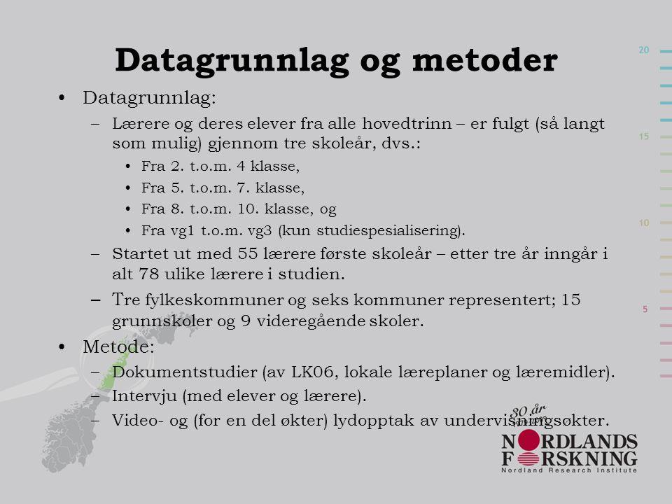 Datagrunnlag og metoder