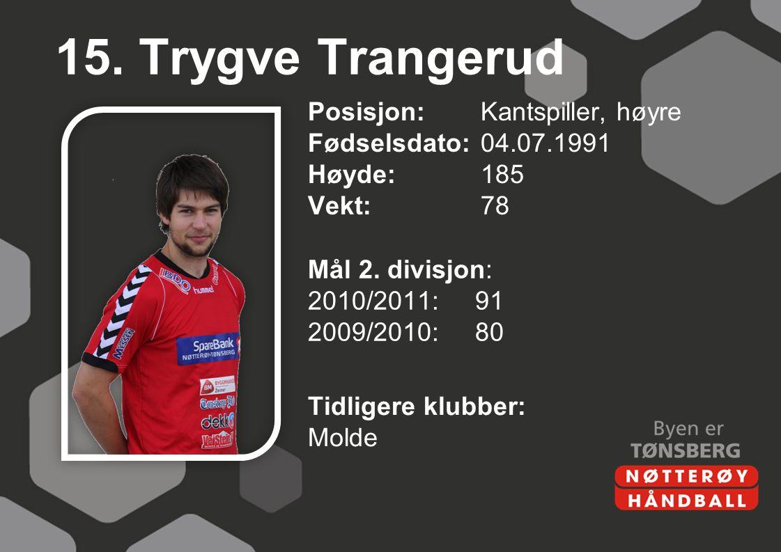 15. Trygve Trangerud Posisjon: Kantspiller, høyre Fødselsdato: 04.07.1991 Høyde: 185 Vekt: 78 Mål 2. divisjon: 2010/2011: 91 2009/2010: 80