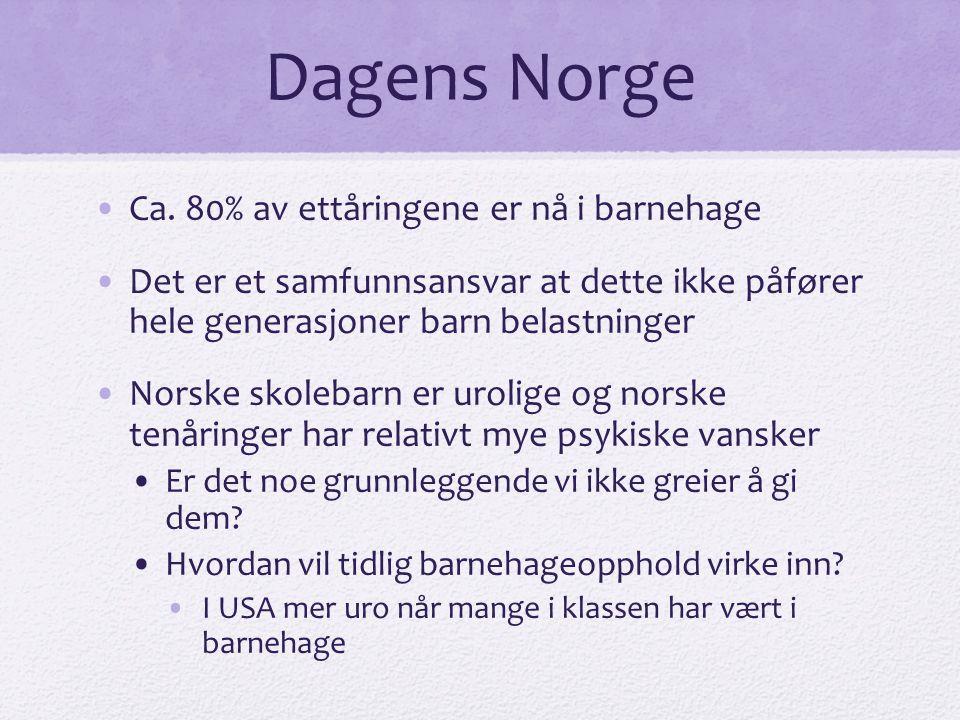 Dagens Norge Ca. 80% av ettåringene er nå i barnehage