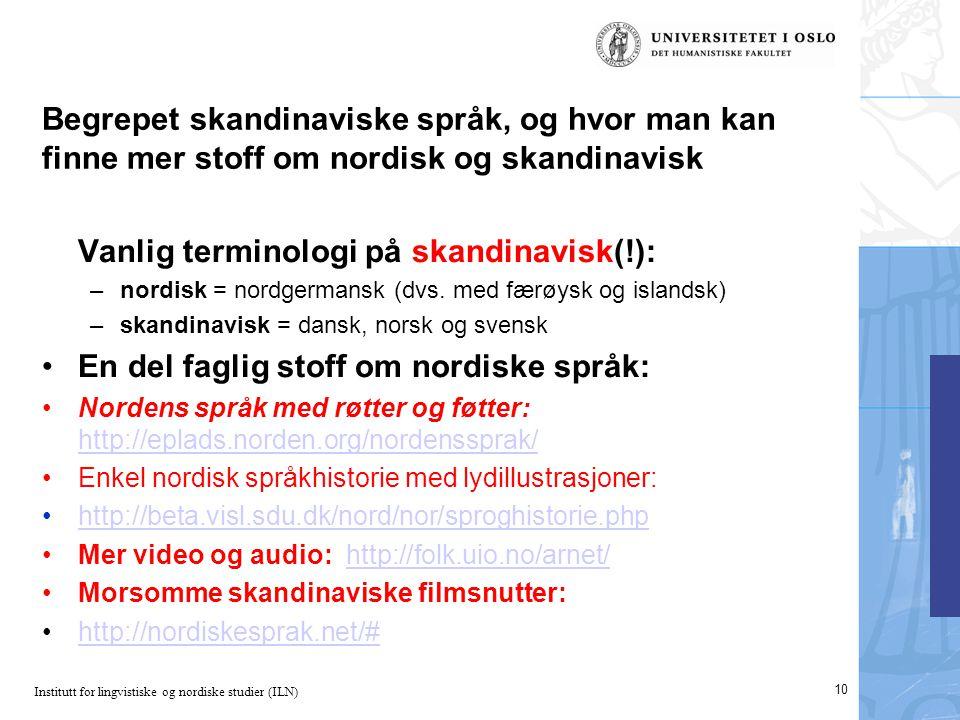 En del faglig stoff om nordiske språk: