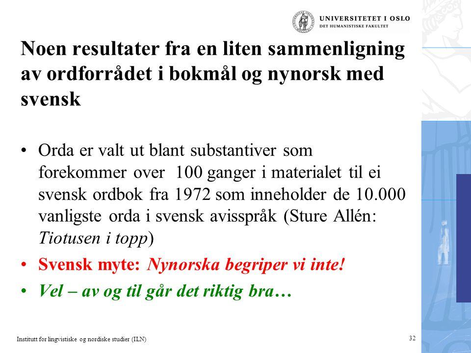 Noen resultater fra en liten sammenligning av ordforrådet i bokmål og nynorsk med svensk