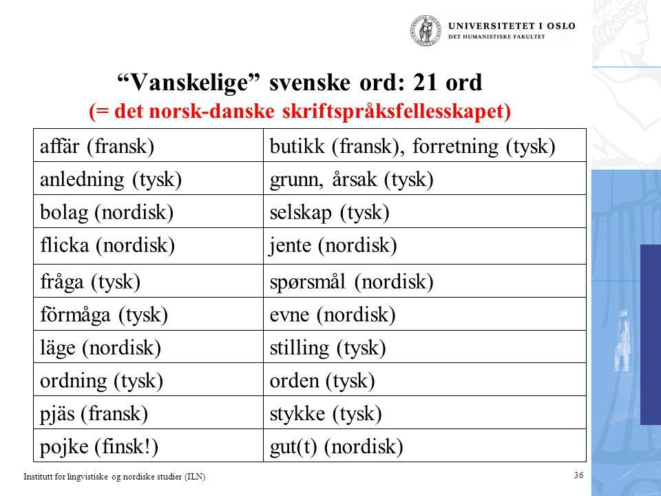 Vanskelige svenske ord: 21 ord (= det norsk-danske skriftspråksfellesskapet)