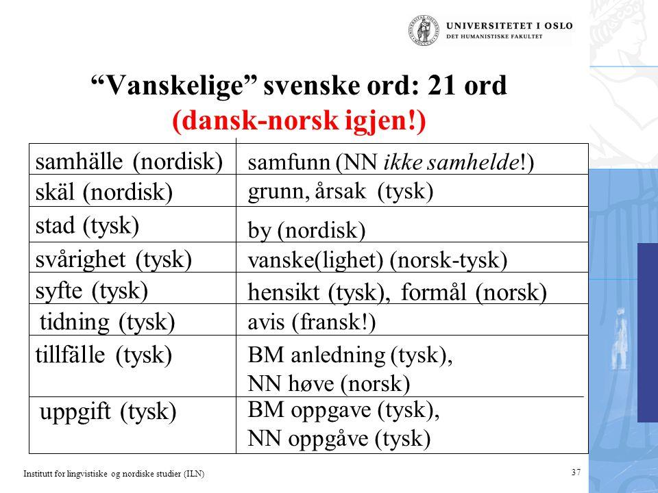 Vanskelige svenske ord: 21 ord (dansk-norsk igjen!)