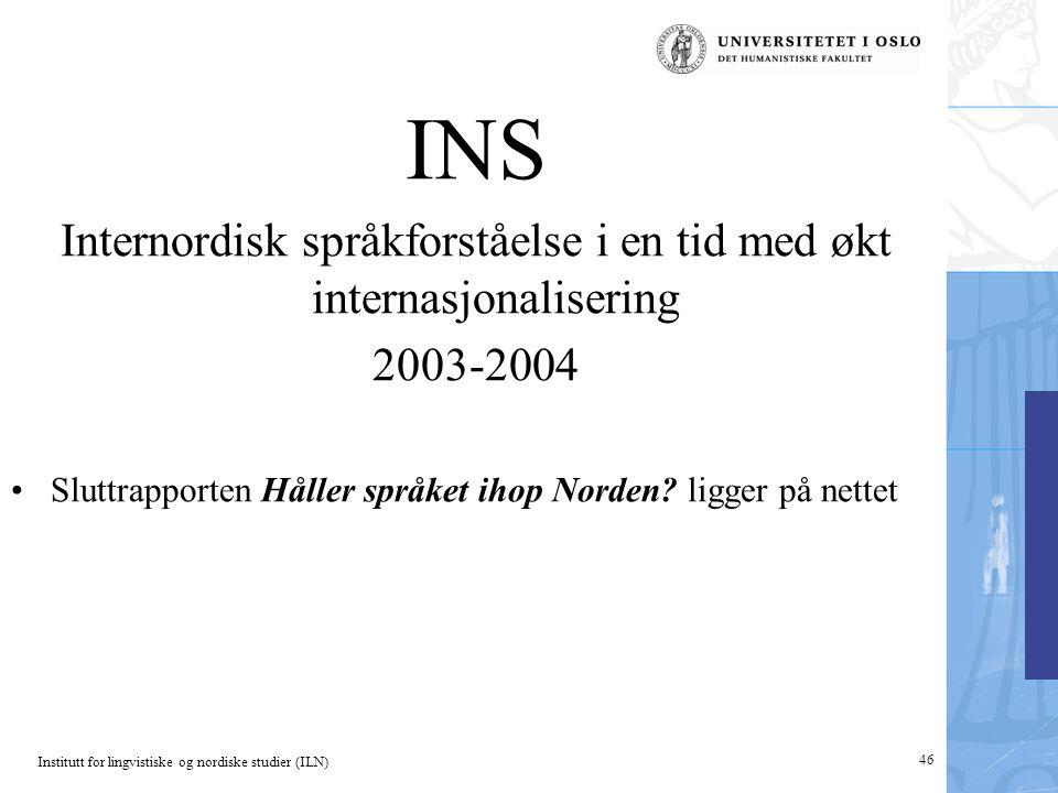 Internordisk språkforståelse i en tid med økt internasjonalisering