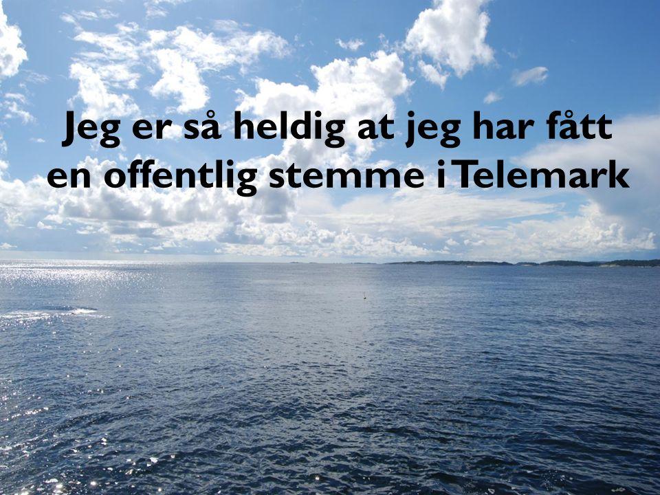 Jeg er så heldig at jeg har fått en offentlig stemme i Telemark