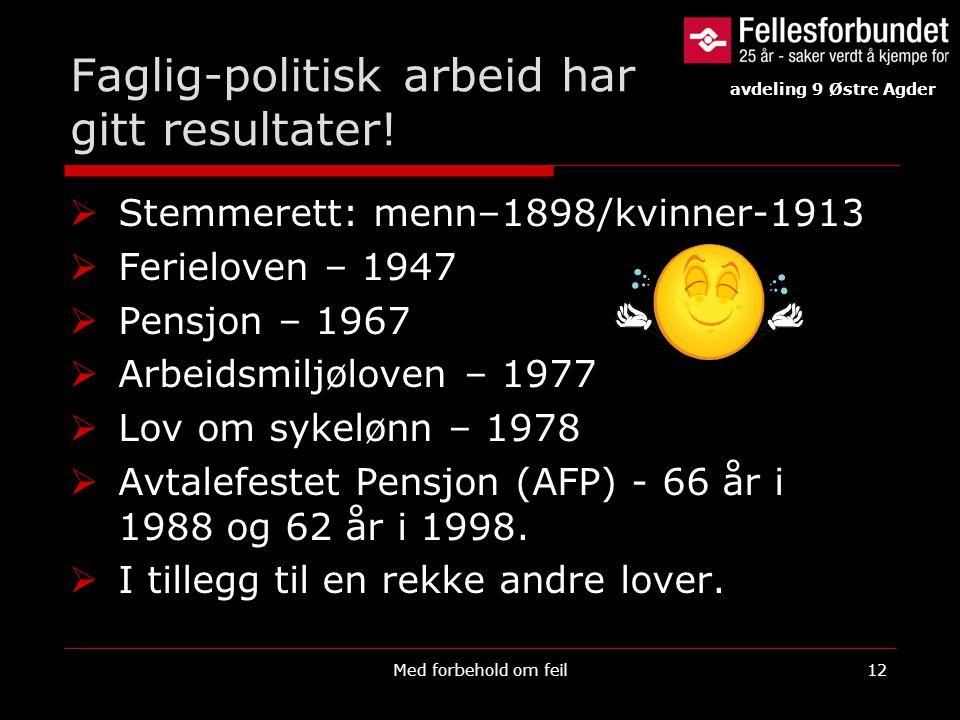 Faglig-politisk arbeid har gitt resultater!