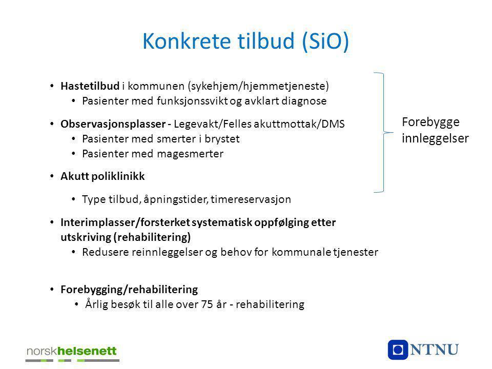 Konkrete tilbud (SiO) NTNU Forebygge innleggelser
