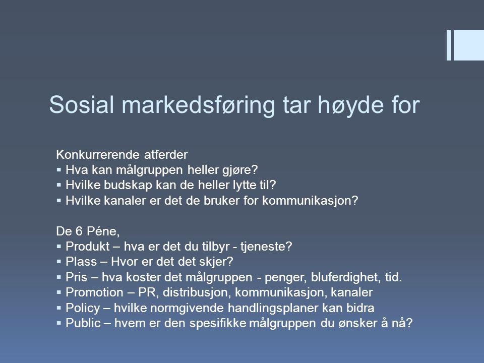 Sosial markedsføring tar høyde for