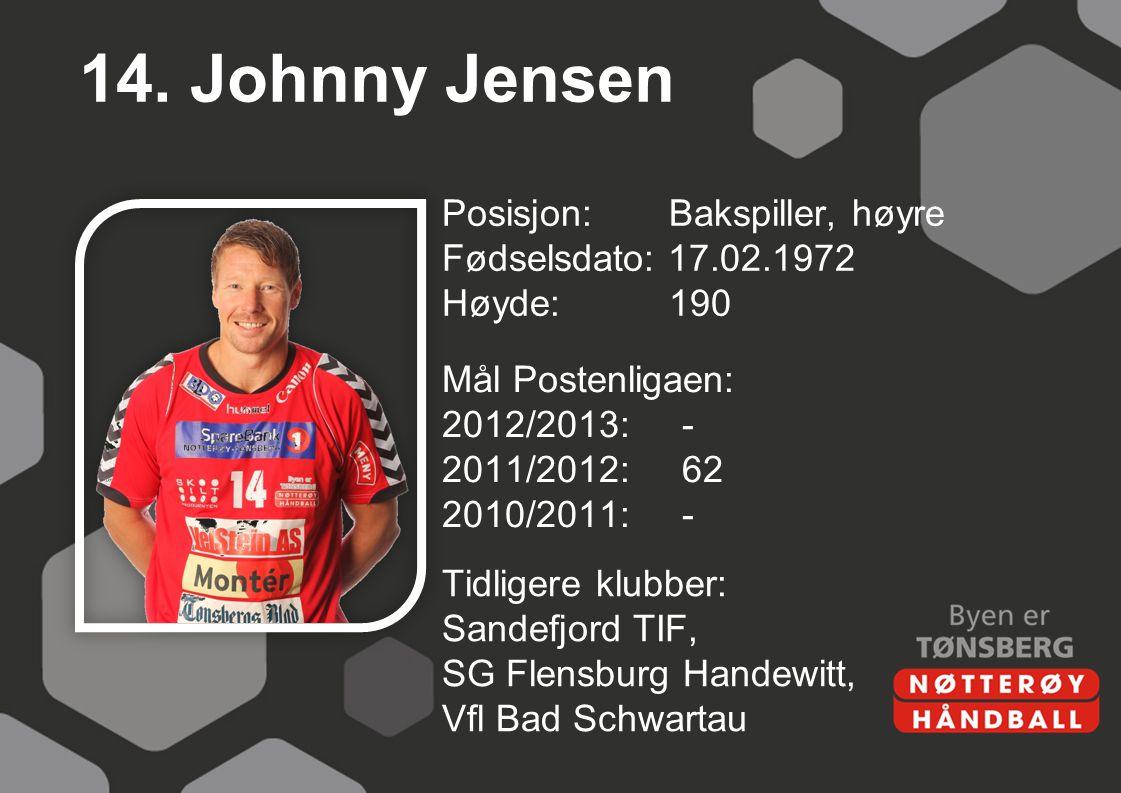 14. Johnny Jensen Posisjon: Bakspiller, høyre Fødselsdato: 17.02.1972 Høyde: 190 Mål Postenligaen: 2012/2013: - 2011/2012: 62 2010/2011: -