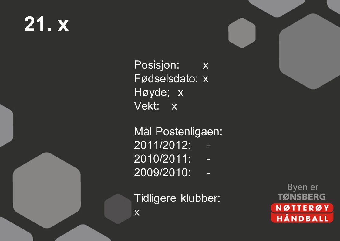 21. x Posisjon: x Fødselsdato: x Høyde; x Vekt: x