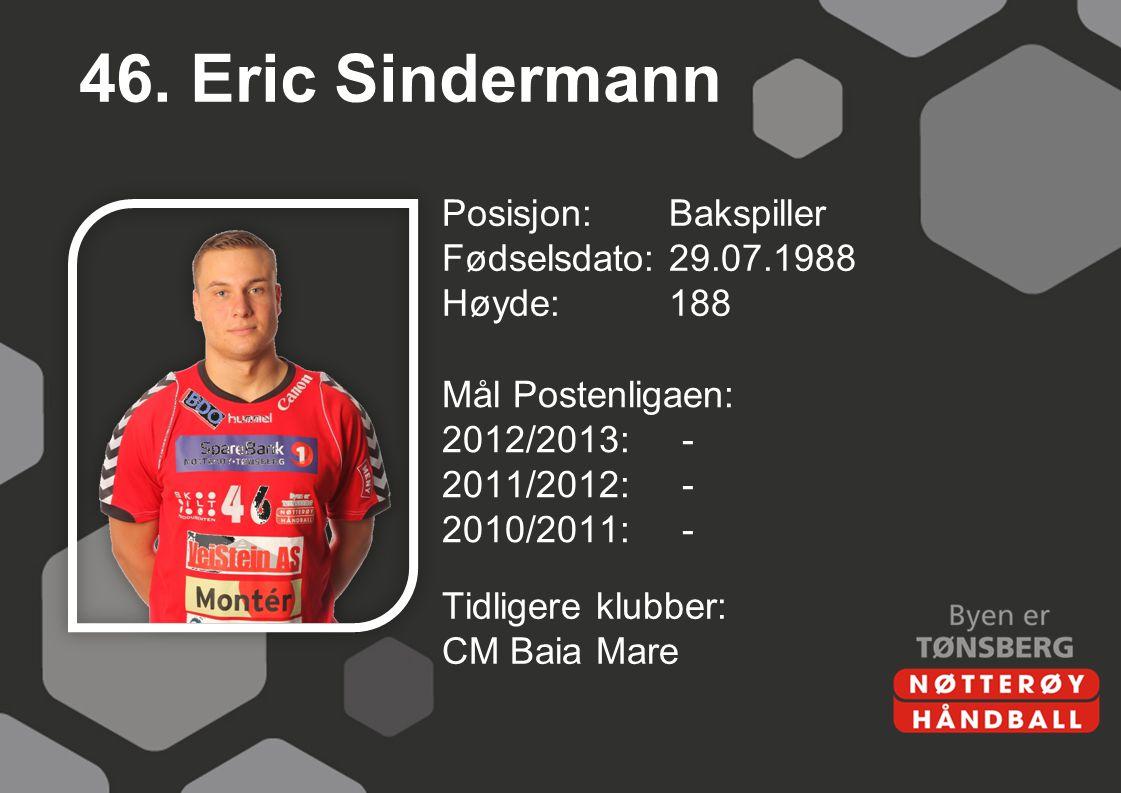 46. Eric Sindermann Posisjon: Bakspiller Fødselsdato: 29.07.1988 Høyde: 188 Mål Postenligaen: 2012/2013: - 2011/2012: - 2010/2011: -