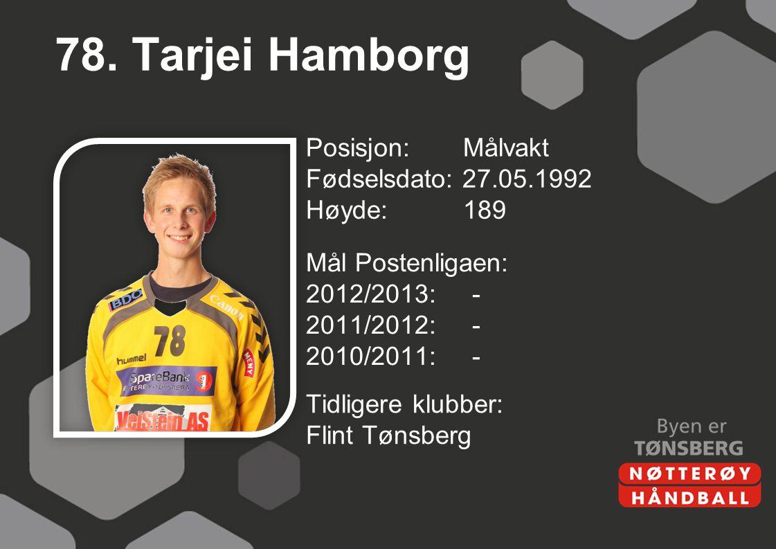 78. Tarjei Hamborg Posisjon: Målvakt Fødselsdato: 27.05.1992 Høyde: 189 Mål Postenligaen: 2012/2013: - 2011/2012: - 2010/2011: -