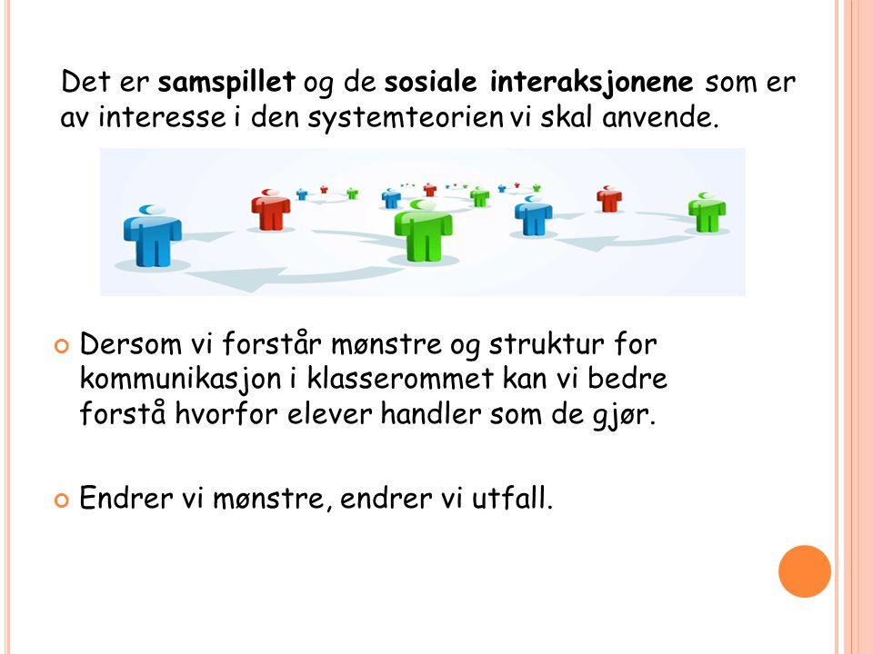Det er samspillet og de sosiale interaksjonene som er av interesse i den systemteorien vi skal anvende.