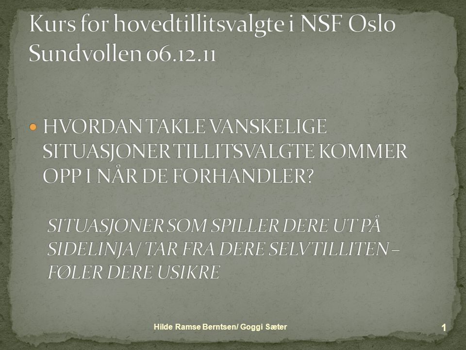 Kurs for hovedtillitsvalgte i NSF Oslo Sundvollen 06.12.11
