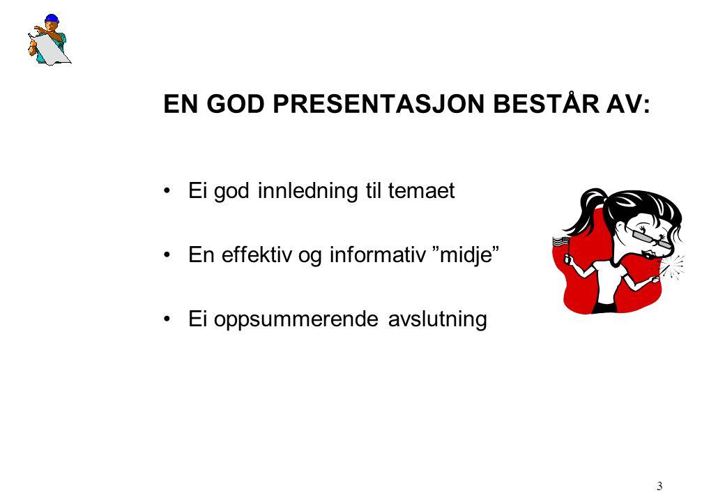 EN GOD PRESENTASJON BESTÅR AV: