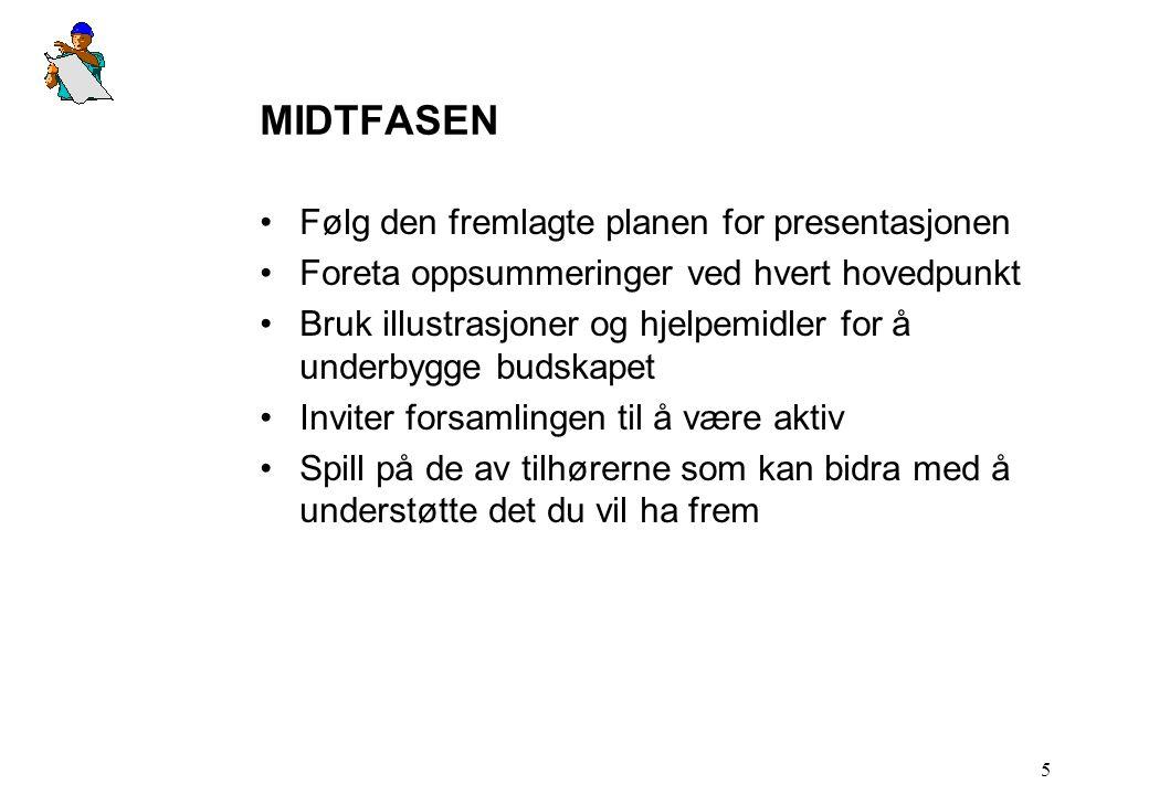 MIDTFASEN Følg den fremlagte planen for presentasjonen