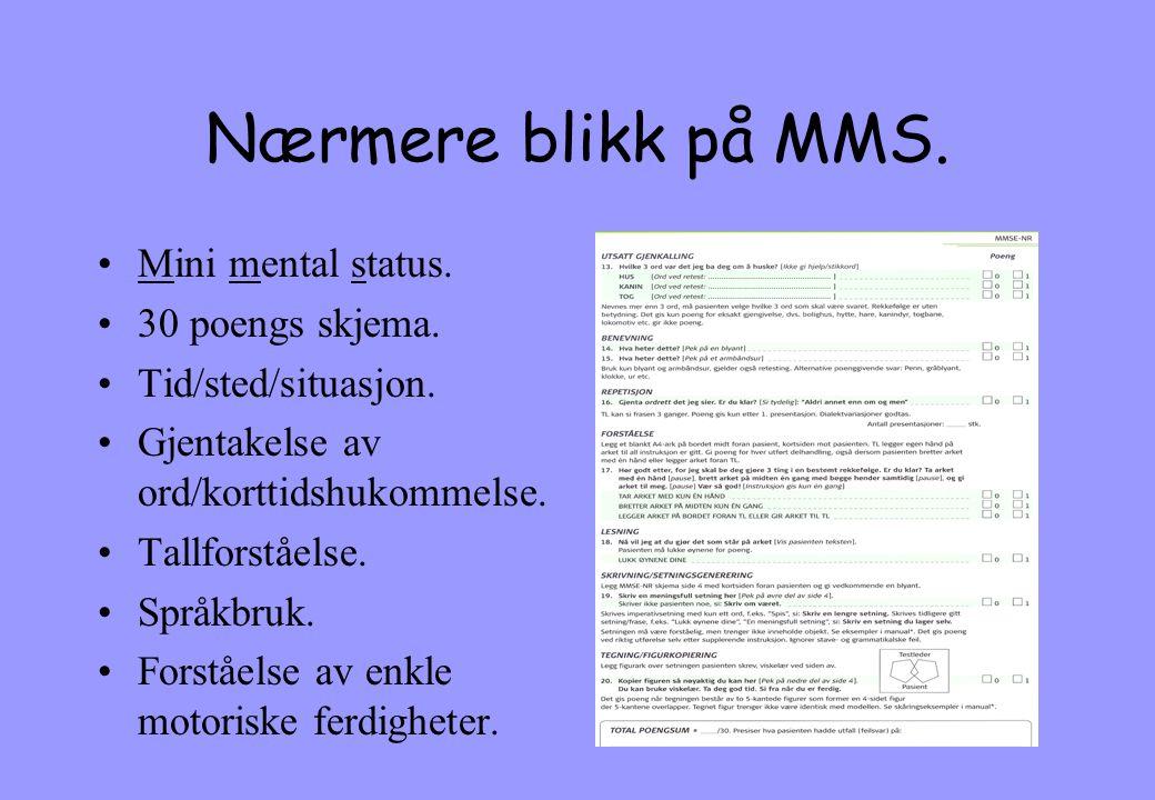 Nærmere blikk på MMS. Mini mental status. 30 poengs skjema.