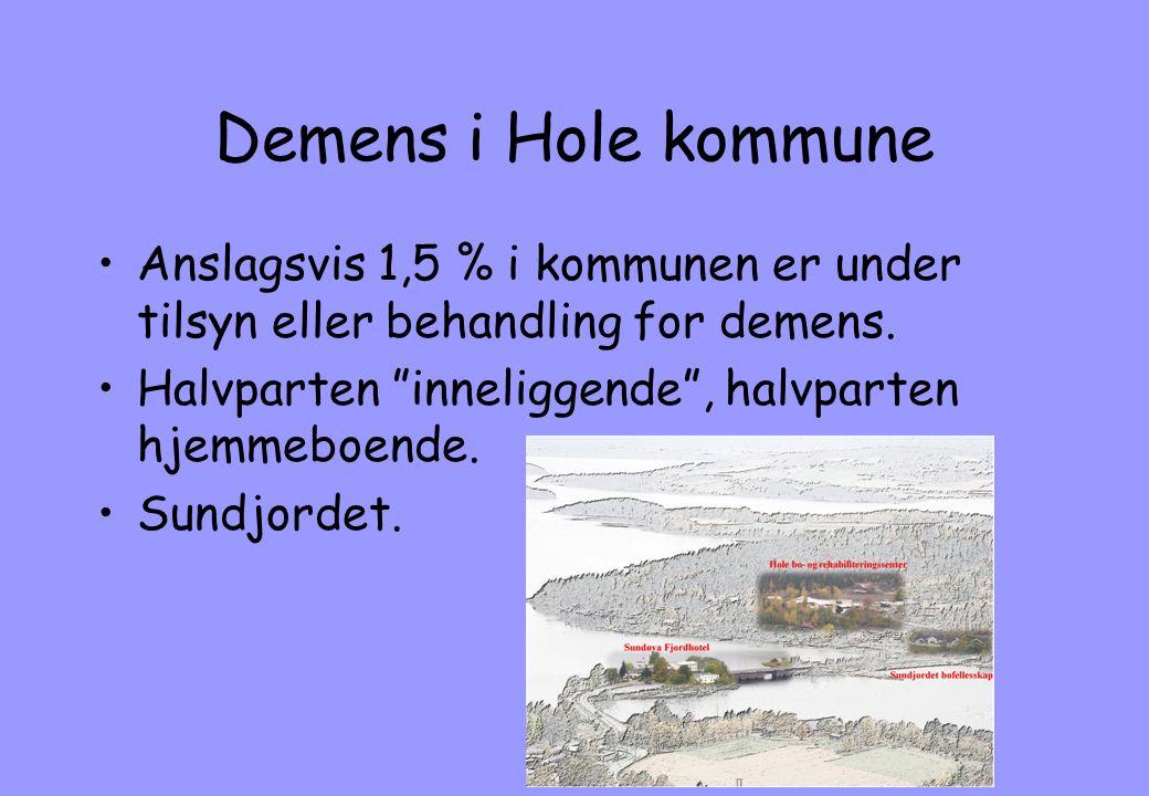 Demens i Hole kommune Anslagsvis 1,5 % i kommunen er under tilsyn eller behandling for demens. Halvparten inneliggende , halvparten hjemmeboende.