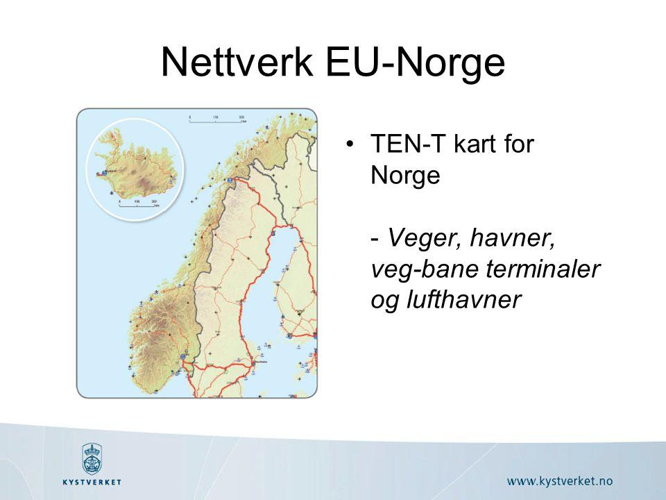 Nettverk EU-Norge TEN-T kart for Norge - Veger, havner, veg-bane terminaler og lufthavner