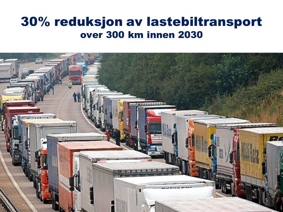 30% reduksjon av lastebiltransport over 300 km innen 2030