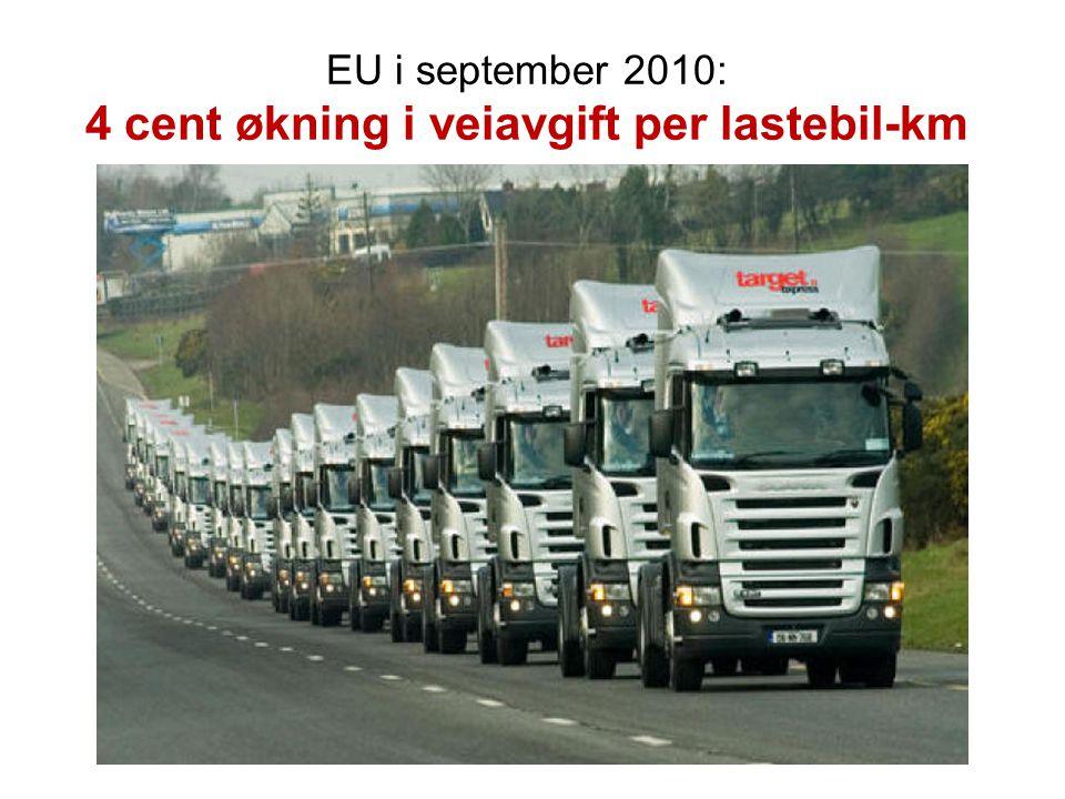 EU i september 2010: 4 cent økning i veiavgift per lastebil-km
