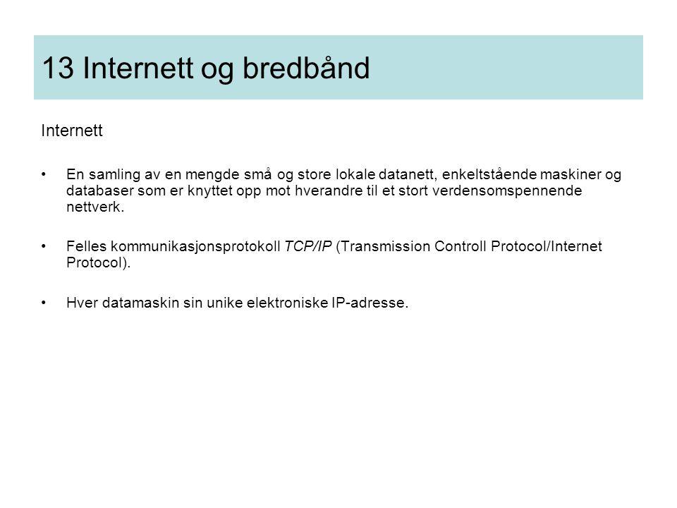 13 Internett og bredbånd Internett