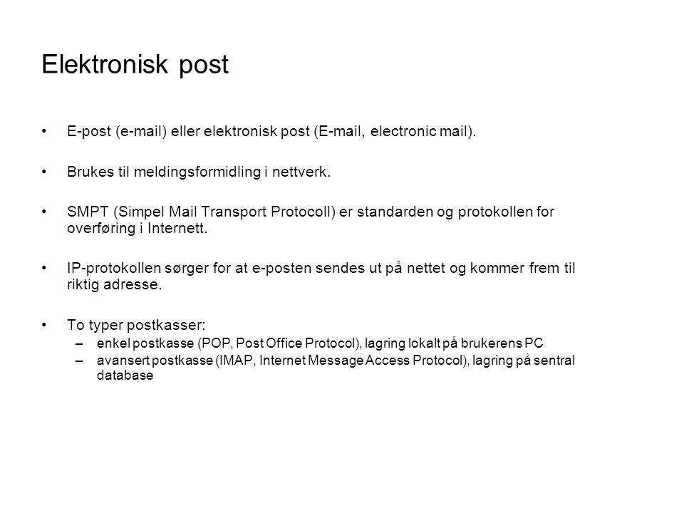 Elektronisk post E-post (e-mail) eller elektronisk post (E-mail, electronic mail). Brukes til meldingsformidling i nettverk.