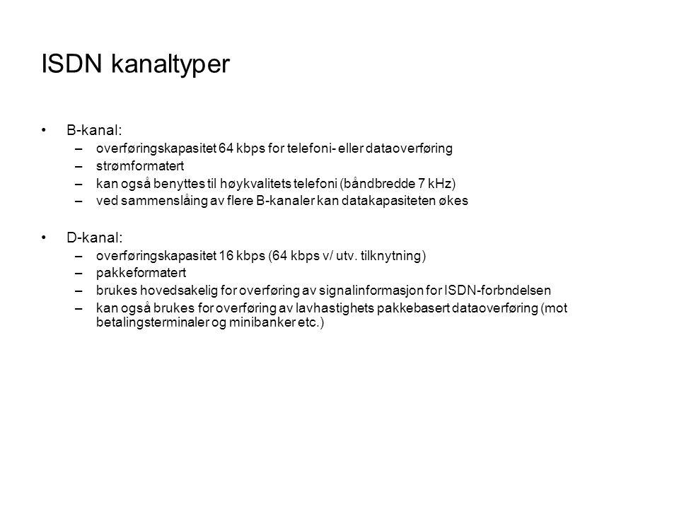 ISDN kanaltyper B-kanal: D-kanal: