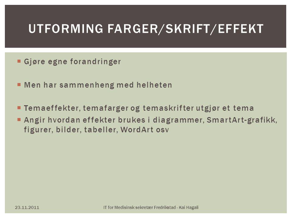 Utforming Farger/skrift/effekt