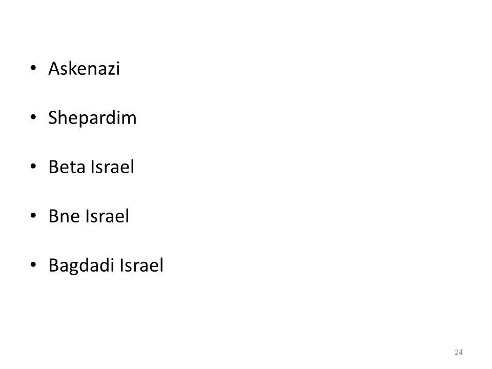 Askenazi Shepardim Beta Israel Bne Israel Bagdadi Israel