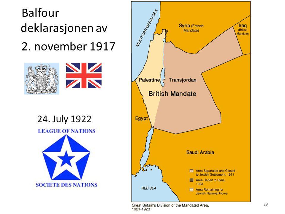 Balfour deklarasjonen av 2. november 1917