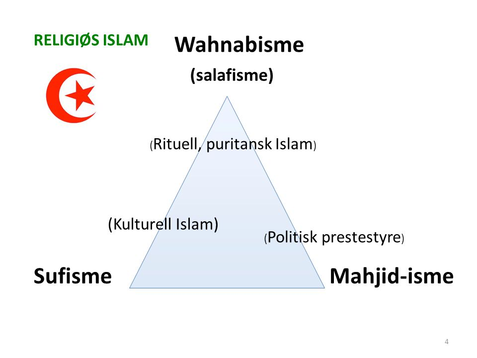Wahnabisme (salafisme) Sufisme Mahjid-isme RELIGIØS ISLAM