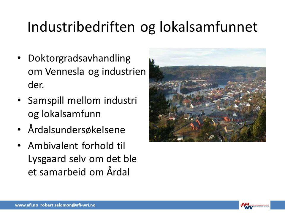 Industribedriften og lokalsamfunnet
