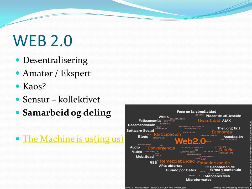 WEB 2.0 Desentralisering Amatør / Ekspert Kaos Sensur – kollektivet