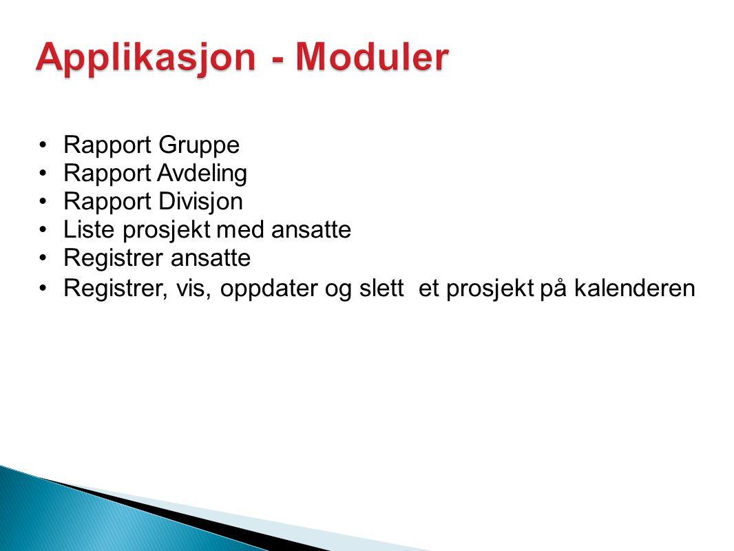 Applikasjon - Moduler Rapport Gruppe Rapport Avdeling Rapport Divisjon