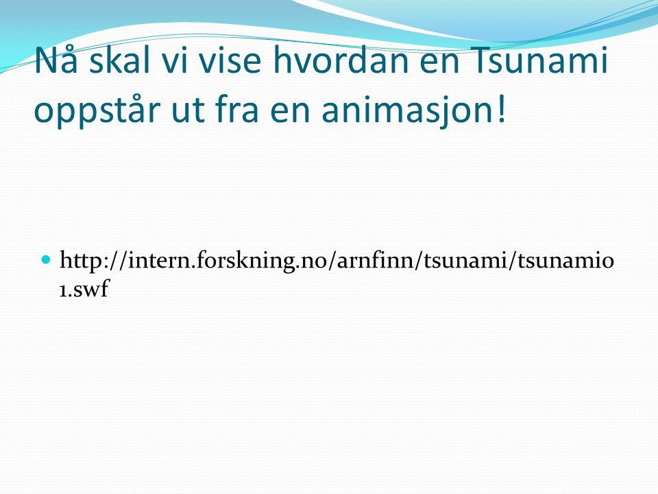 Nå skal vi vise hvordan en Tsunami oppstår ut fra en animasjon!