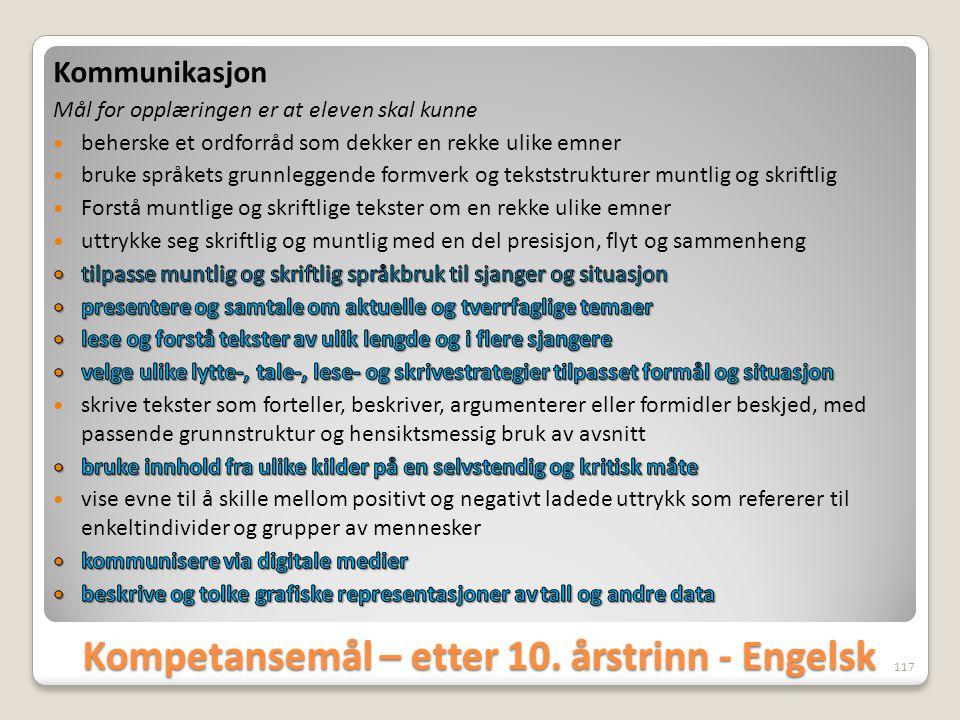 Kompetansemål – etter 10. årstrinn - Engelsk