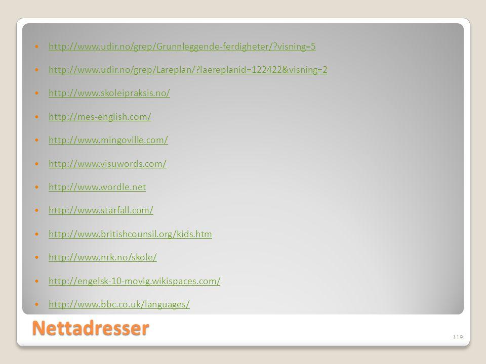 http://www.udir.no/grep/Grunnleggende-ferdigheter/ visning=5. http://www.udir.no/grep/Lareplan/ laereplanid=122422&visning=2.
