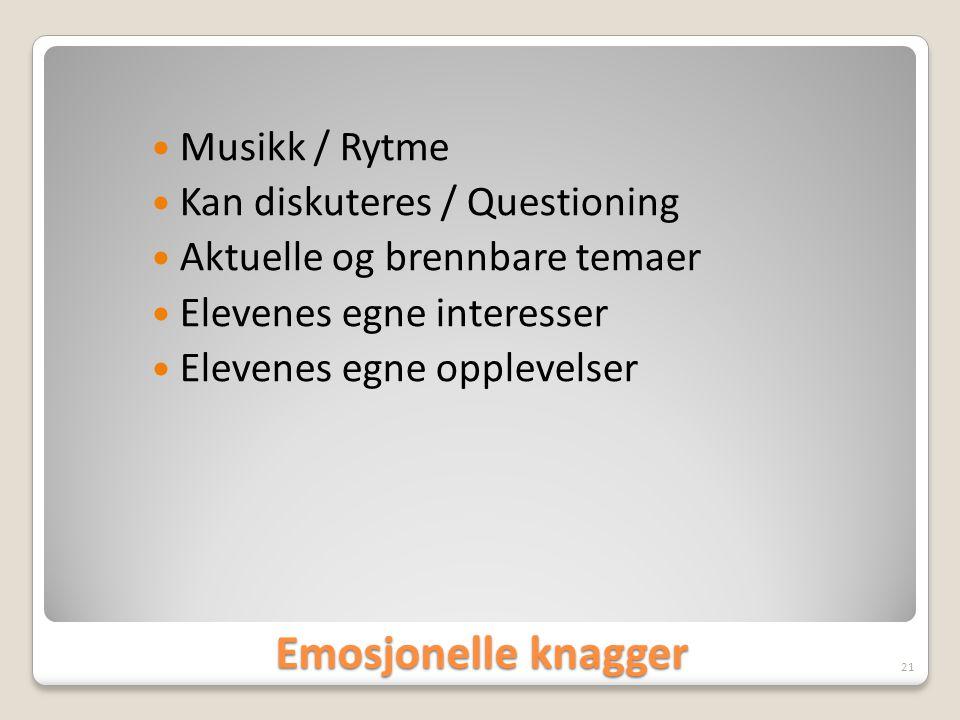 Emosjonelle knagger Musikk / Rytme Kan diskuteres / Questioning