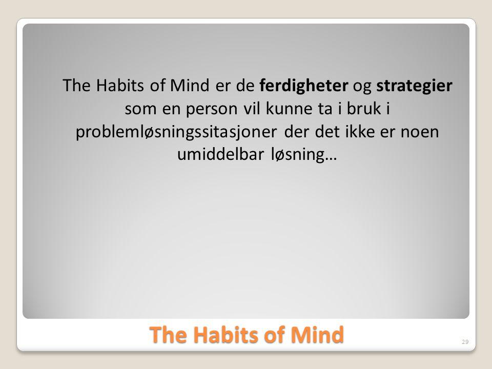The Habits of Mind er de ferdigheter og strategier som en person vil kunne ta i bruk i problemløsningssitasjoner der det ikke er noen umiddelbar løsning…