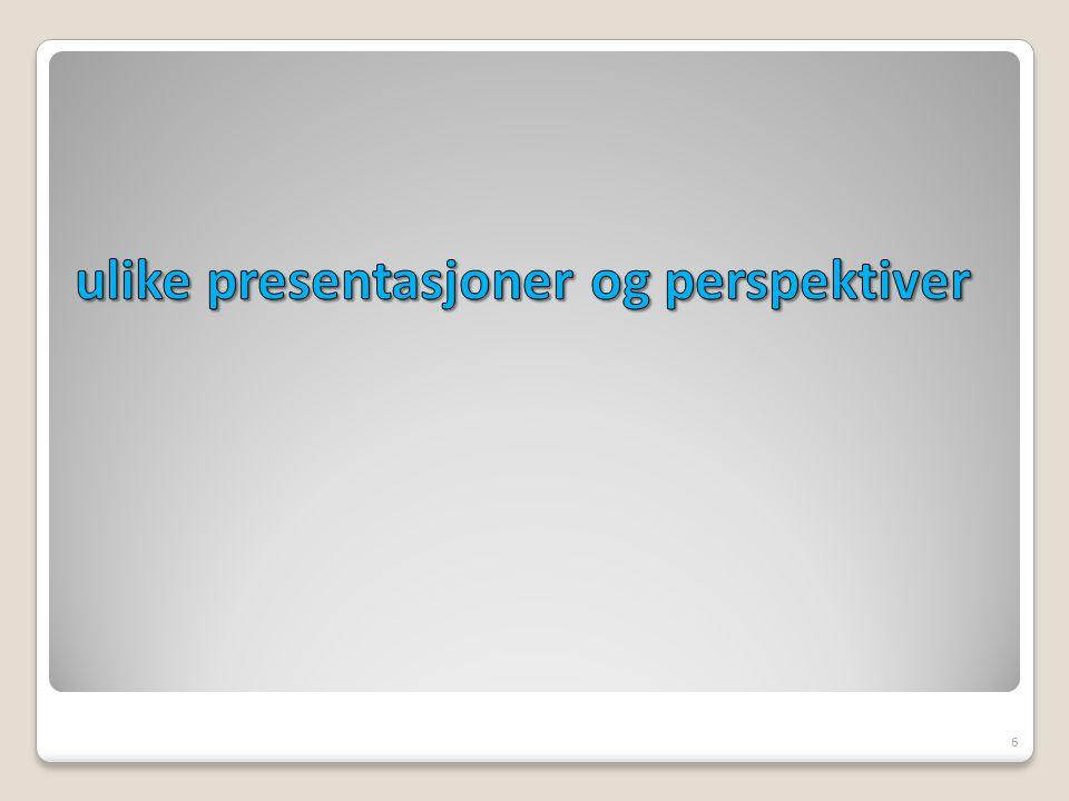 ulike presentasjoner og perspektiver
