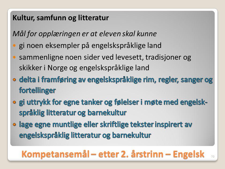 Kompetansemål – etter 2. årstrinn – Engelsk