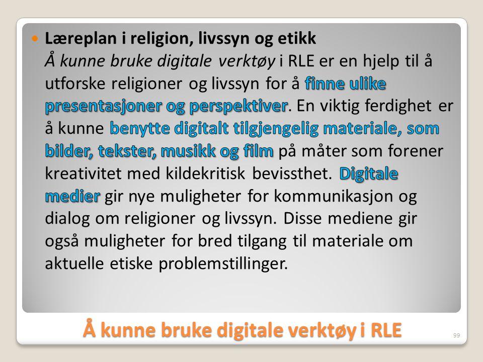 Å kunne bruke digitale verktøy i RLE