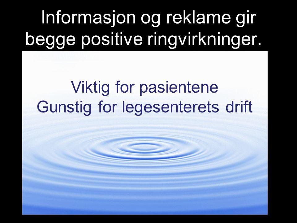 Informasjon og reklame gir begge positive ringvirkninger.n