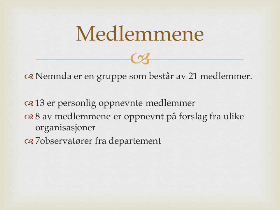 Medlemmene Nemnda er en gruppe som består av 21 medlemmer.