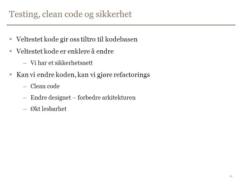 Testing, clean code og sikkerhet