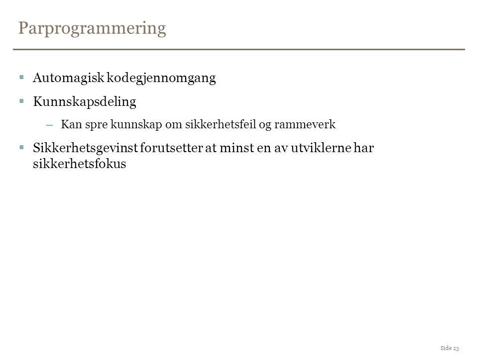 Parprogrammering Automagisk kodegjennomgang Kunnskapsdeling