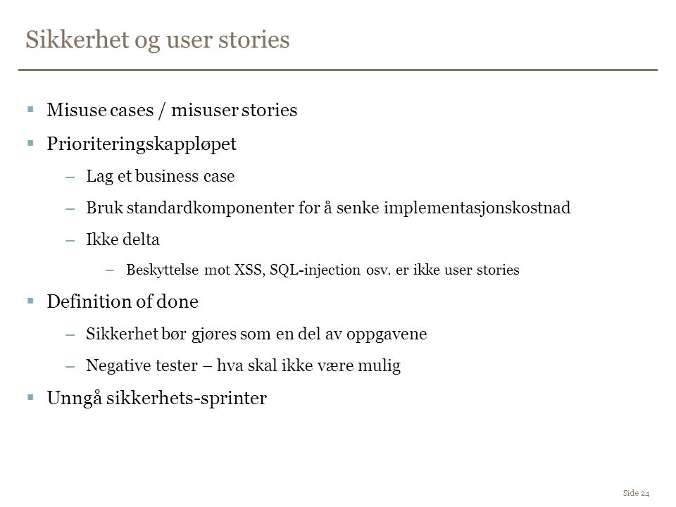 Sikkerhet og user stories